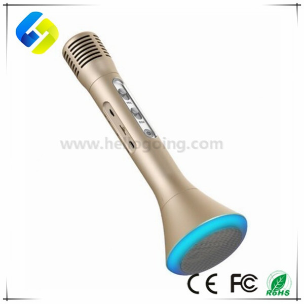 Portable Handheld Microphone K1 LED light Bluetooth Wireless Microphone for Karaoke Singing