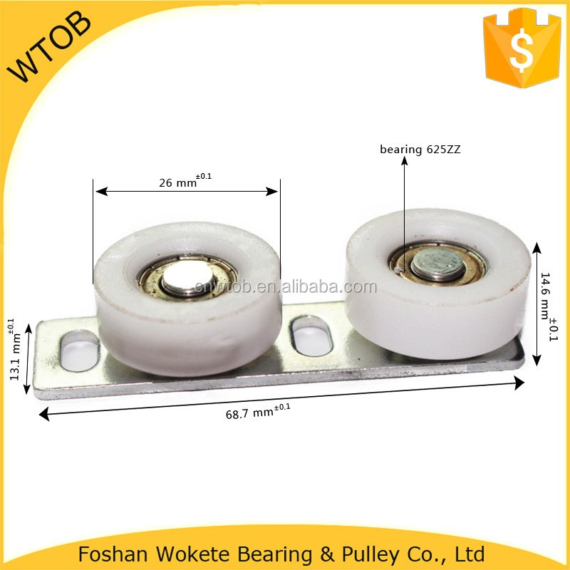 Small Friction Two Plastic Pulley Wheel With Aluminiun Bracket Pulley Alignment