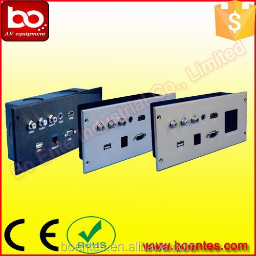 Aluminum Drawing Panel Hotel Wall Mount Media Power Socket Plate with Bottom Box for Hotel AV Solutions
