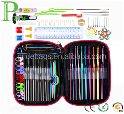 Crochet Hooks Yarn Knitting Needles Sewing Tools Full Set Knit Gauge Scissors Stitch Holders