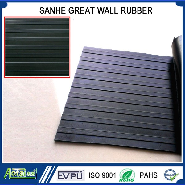 Non slip rubber sheet/mat Wide ribbed rubber flooring