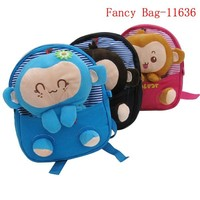Hot selling cute plush monkey cotton fabric book bag for childern