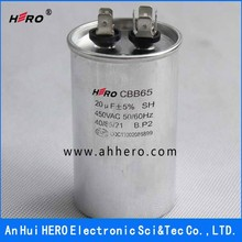 China HERO CBB65 450VAC 20uF 50/60Hz Ultra oil filled super motor air conditioner capacitor