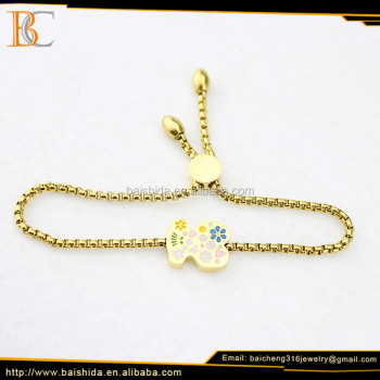 Stainless steel 18k gold plated jewelry lovely bear chain bracelet for wedding