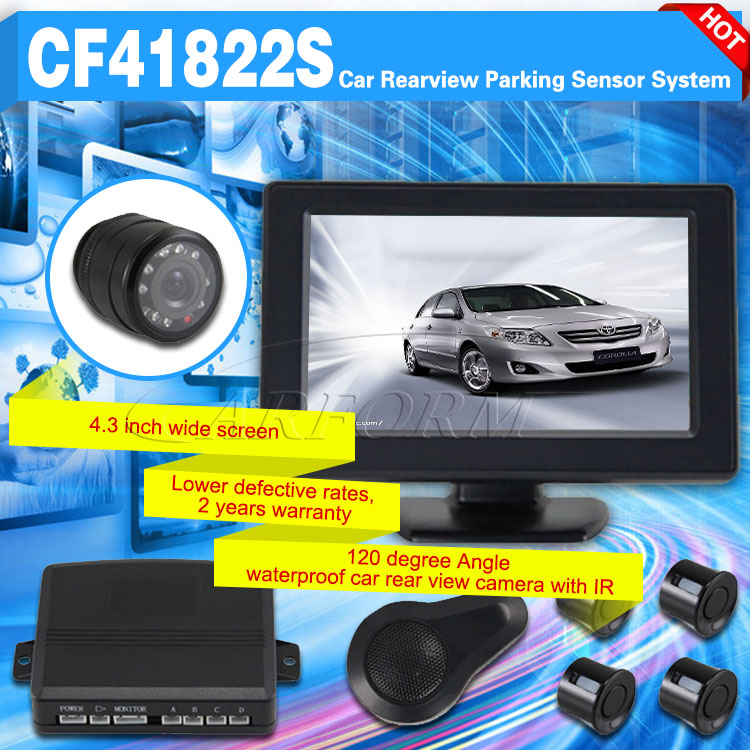High level 4.3 inch rearview mirror parking sensor system with reverse camera