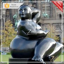 Fernando Botero Seated Fat Woman Copper Art Decorative Sculpture