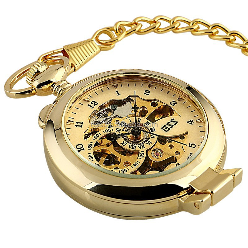 WP142-ESS Golden Gold Antique Skeleton Mechanical Bronze Plating Skeleton Antique Pocket Watch Mechanical Pocket Watch