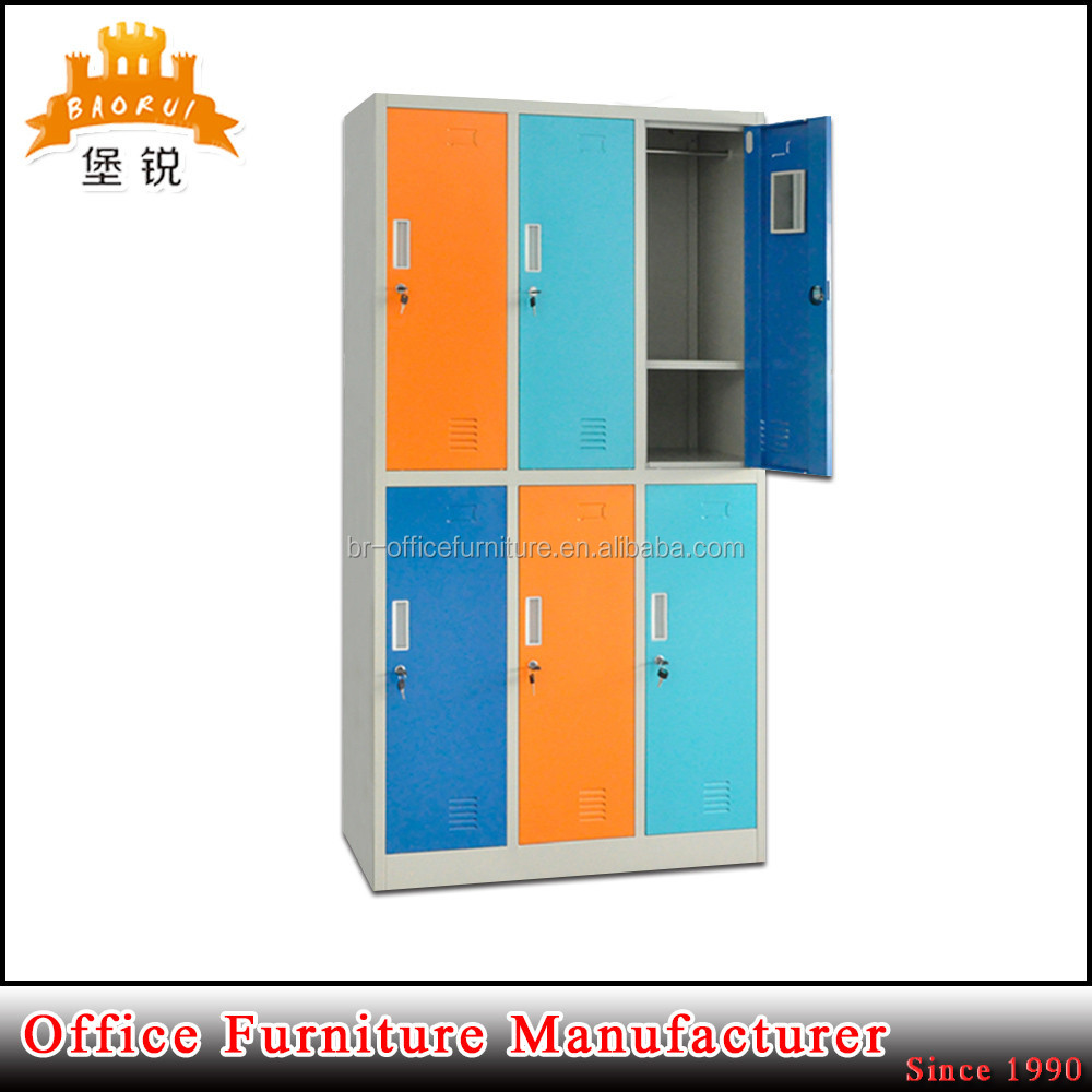 School dormitory or changing room use six door colorful steel student locker