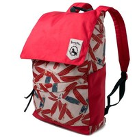 Red bamboo leaf pattern school bag high school backpack
