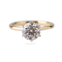 Custom 14k solid yellow gold 1.5carat 7.5mm round GH color moissanite lab diamond engagement ring