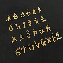 Custom Gold Stainless Steel 26 Alphabet Letters Charm Pendant for Jewelry Necklace Bracelet