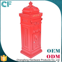 High Durability Locked Crown Decorative Aluminium Waterproof Red Post Box