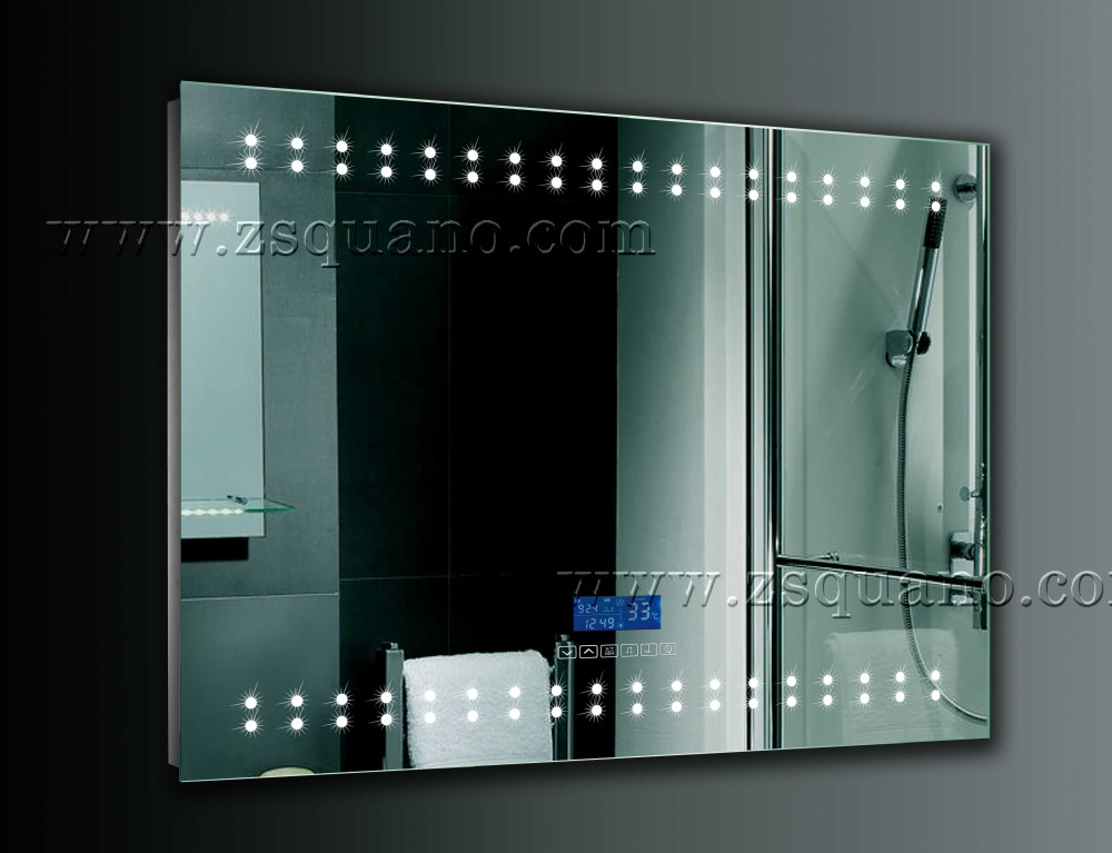 Top Illuminated Bathroom Mirror With Led Digital Clock Buy Bathroom Mirror Digital Bathroom