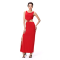 Sleeveless Bare Waist Red Long Club Prom Dress
