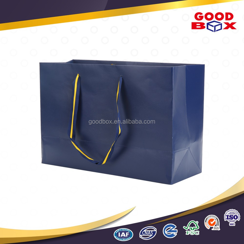High quality personalized paper shopping bag with handles for clothes packaging