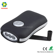 Ninghai factory supply 3 LED dynamo hand crank LED flashlight