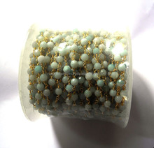 Amazonite Round Facet Beaded 925 Sterling Silver Gold Plated Chain Spool