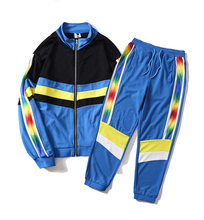 2018 fashion color block custom <strong>sports</strong> track suit outdoor for men wholesale