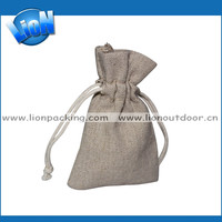 Customized Eco-friendly large drawstring flax pouches