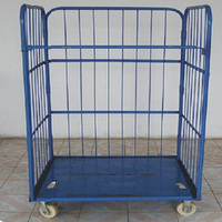 Trolley Logistic Carts Rolling Cage Cart Cage Trolley Metal Wire Basket Carts with 4 Wheels \spray warehouse cage vehicle