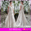 Latest Sale A-line Scoop Neckline Appliques Lace Trim Sleevels Designer Wedding Dresses