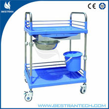 BT-SPY005 2 tier plastic and steel hospial and clinic dressing cart medical cart with wheels