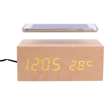 Wooden Desk Alarm Clock with Temperature Display alarm clock with phone charger