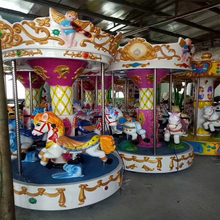 Amusement coin operated three seats mini merry do roundAngel carousel horses rotating horse riding game machine