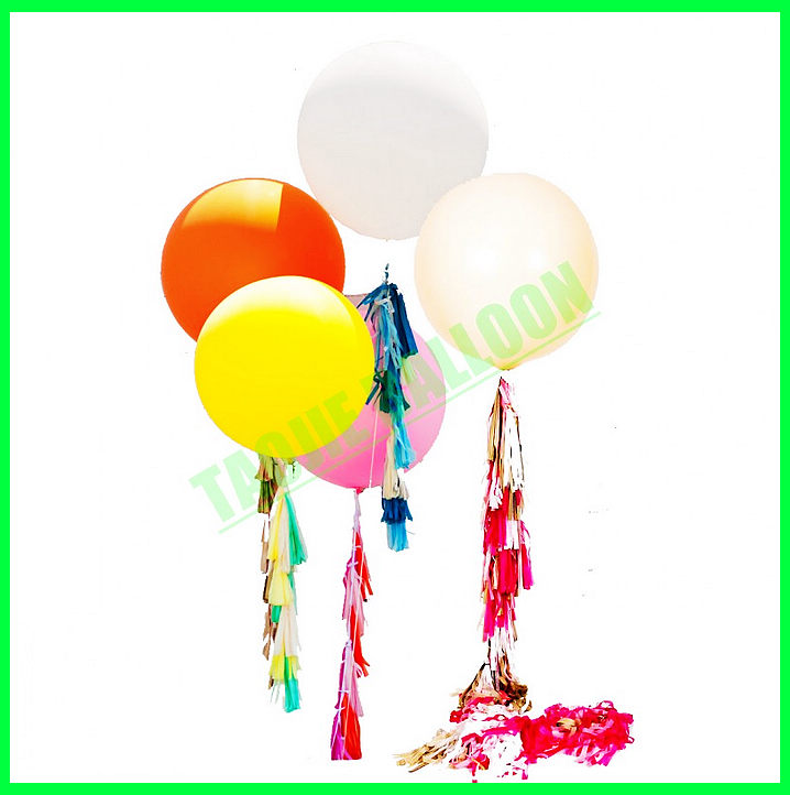 "Big Latex balloon with tassels for decoration,36"" tassels Balloons"