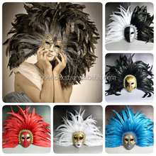 Festive & party supplies Different colors available Full-face plastic with feather Venetian carnival masks