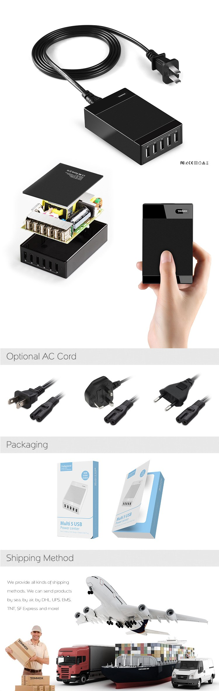 hot sales 5v 2a 40w usb charger for 1plus second generation