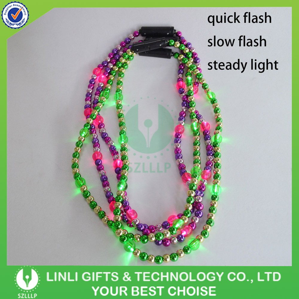 2017 Latest Design Blinking Led Choker Bead Necklace, Luminated Led Flashing Bead Necklace