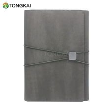Refillable Elastic band custom pu leather cover a5 spiral notebook with pen for promotion