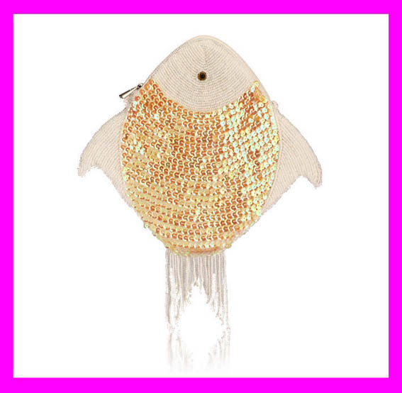 New arrival fashion designer fish shape gold sequin clutch bag for lady HD5971
