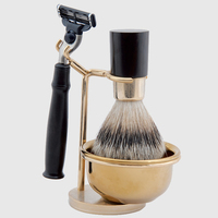 SV-369S high quality shaving brush set golden plated stand &Bowl professional cosmetic makeup brushes sets