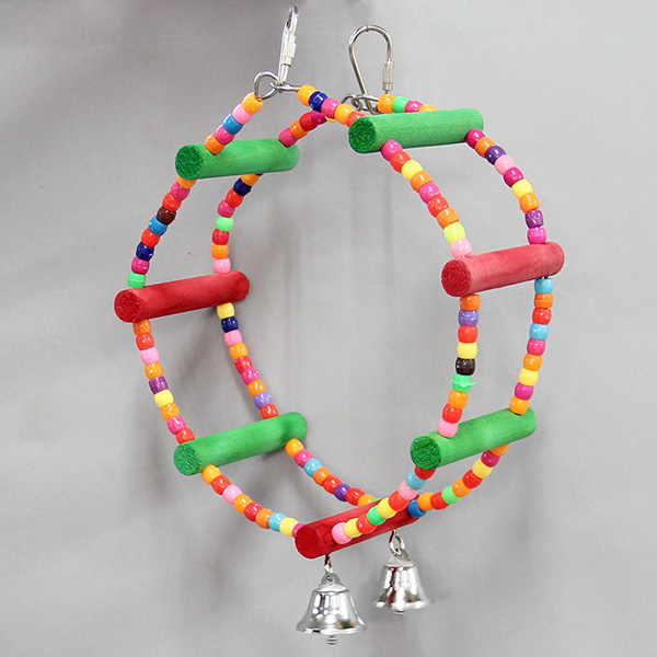 colorful Beads wheel chew biting swing parrot bird toy with small bell T36