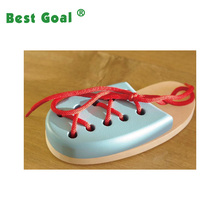 Wooden Lacing Toy Laceable Shoe, Handmade Educational Toy
