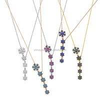 Top quality micro pave stone various colors christmas gift snowflake necklace