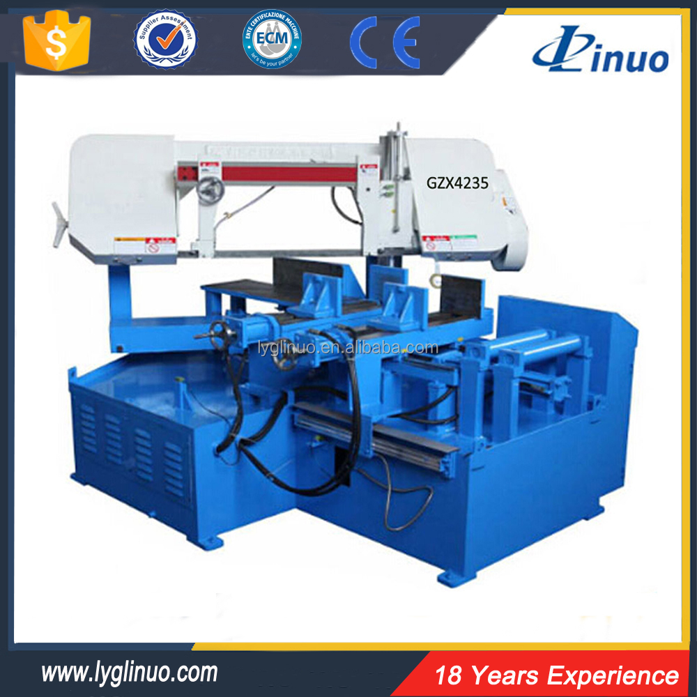 Latest cnc metal angel rotate GZX4235 band saw machine price