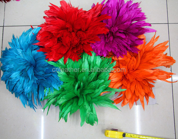 Wholesale 4-8'' Rooster Schlappen Feathers cock saddle Strung for carnival costums dressing