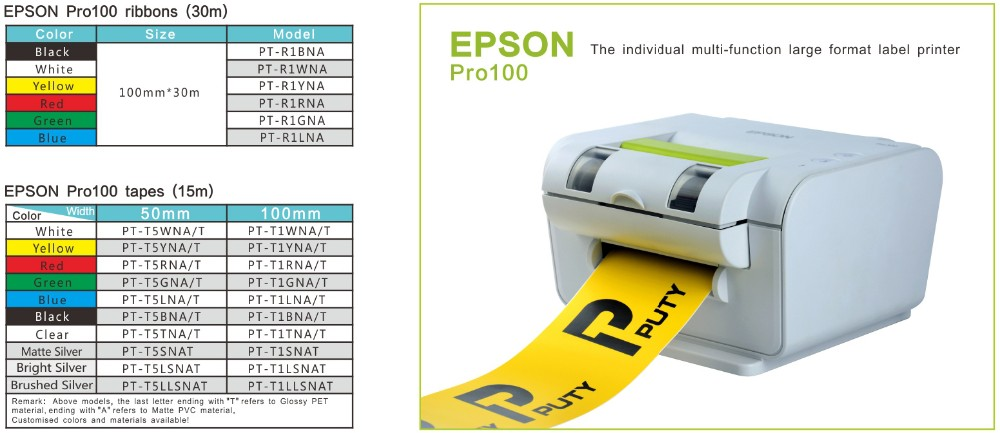 Compatible Pro100 ribbon 100mm*30m Black for labelworks printer epson pro 100