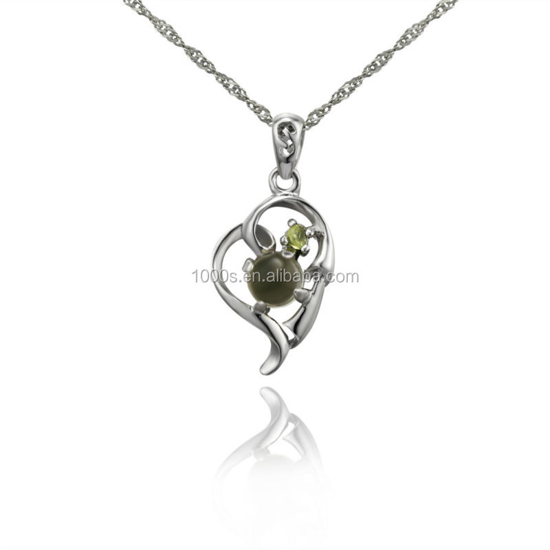 Girls Gift Rhodium Plated Sterling Silver Jewelry Pendant
