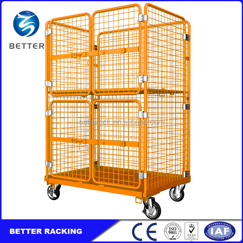 China Supermarket or Laundry Roll Container, Foldable Roll Cage Trolley