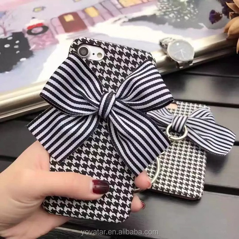 2017 New Hot Case for iPhone7 Grid Bow Pendant Case for Girl PC Hard Case for iPhone6