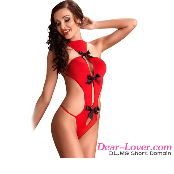 Sexy micro Black Satin Bow Accent Hot Red nylon satin silk teddy lingerie