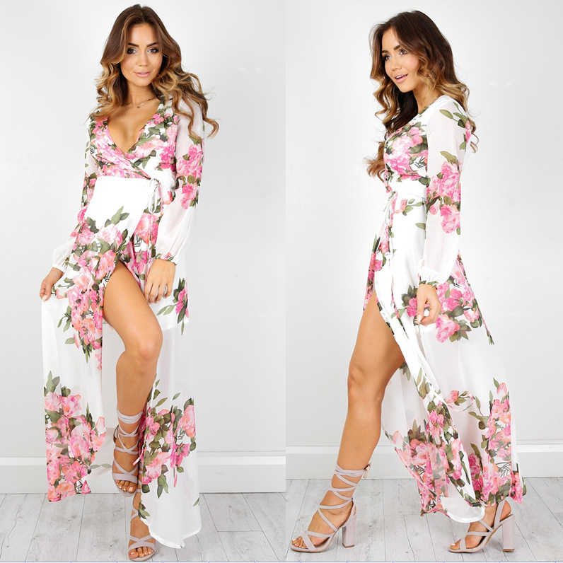 Z93076A 2017 Wholesale Bohemian Maxi Sexy Beach Dress Women Chiffon Maxi Printed Long Dresses