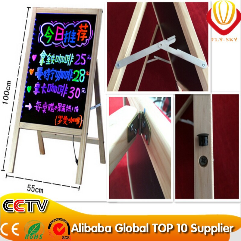 Ali-express professional manufacturer Wooden frame led writing board with tripod for shops advertising brightness 28 flash modes