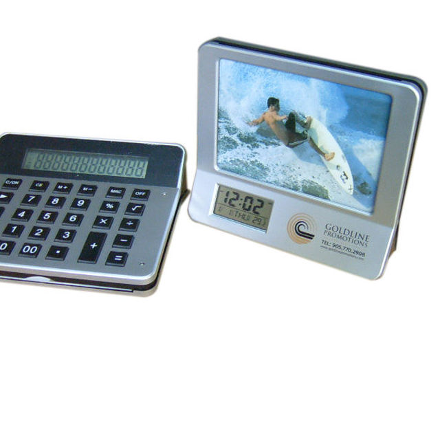 3 in 1 multi function photo frame calendar clock with calculator