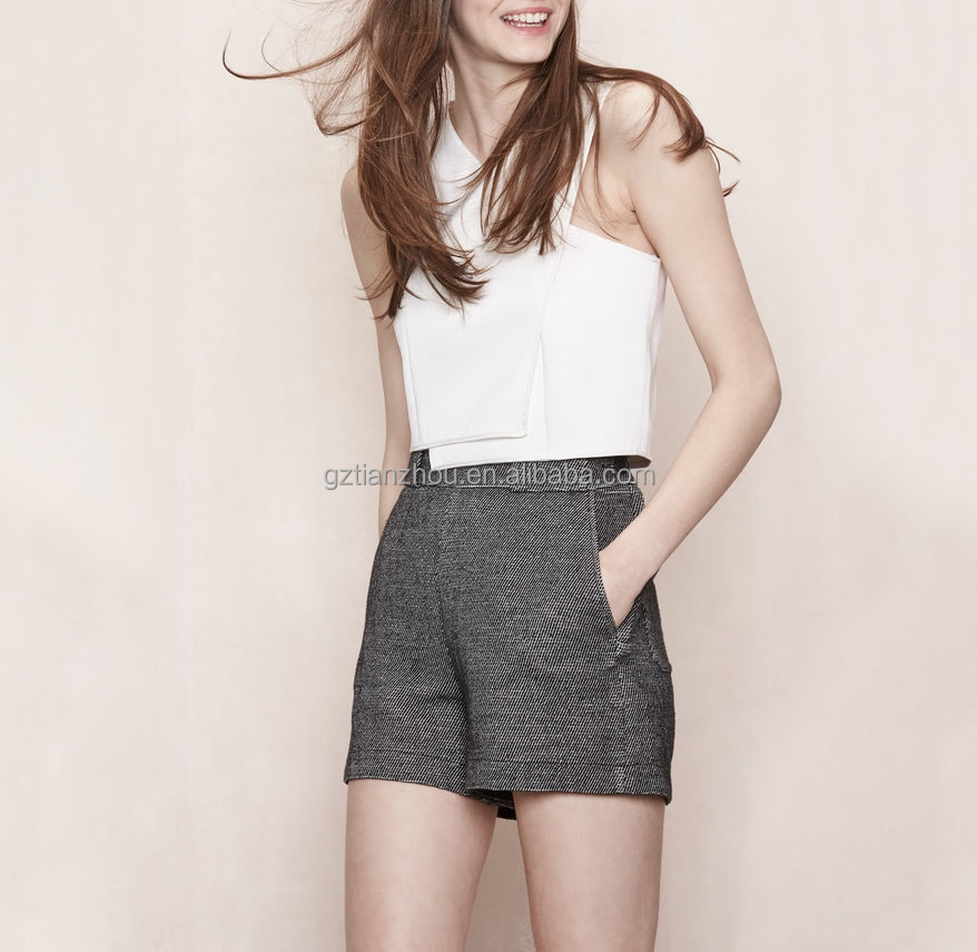 China Guangzhou clothing apparel OEM Crepe sleeveless bra-style chic and minimalist Wrap crop top for women