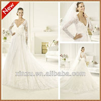 New Arriving Deep Neckline A-line Long Train Long Sleeve Lace Wedding Dresses